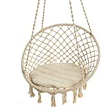 Pureday Hängesessel Nizza - mit rundem Sitzkissen - Outdoorgeeignet - Sitzfläche ca. Ø 55 cm - Belastbarkeit max. 100 kg
