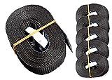 iapyx 6 Spanngurte Zurrgurte 250kg 2.5m 4m 5m 6m mit Klemmschloss Schnellspannung (2.5m, schwarz)