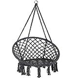 Detex Hängesessel | 150kg 2 Stahlringe Sitzpolster geflochten | Hängestuhl Hängekorb Schaukelkorb Garten Indoor