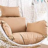 ZJHTK Hängesessel in Eierform, Rattan-Gewebe, Hängematten-Kissen für Einzelschaukel, Hängekorb, Sofa (ohne Stuhl), hautfarben