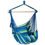 RELAX4LIFE Hängesessel, Hängesitz mit 2 abnehmbaren Kissen, Hängestuhl mit dickem Seil, Hängeschaukel für Kinder & Erwachsene, für Balkon & Wohnzimmer, bis zu 160 kg belastbar, waschbar (Blau)