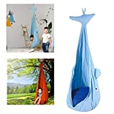 ZEIYUQI Hängematte Für Kinder Aus Baumwolle Einfache Montage Sommer Hängesessel Für Indoor & Outdoor,Whale,70 * 120cm