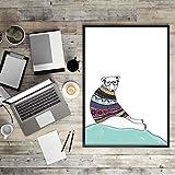 Geiqianjiumai Cartoon Tier bär Pinguin Retro Katze Kunstdruck Poster Hippie wandkunst Bild leinwand malerei Home Office Dekoration rahmenlose malerei 30x40 cm
