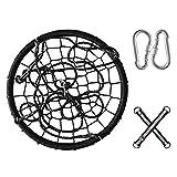 YLKCU Baumschaukeln für Kinder mit Aufhängeset, Garten- / Park- / Spielzimmer-Schaukel-Set, Outdoor Indoor runder Spinnennetz-Hängesessel n-Sitz - 60 cm / 24 Zoll (Farbe : Schwarz)