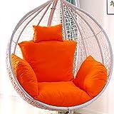 ZJHTK Hängesessel mit Schaukel-Design, Rattan-Kissen, für drinnen und draußen, für Terrasse, Hof, Garten, mehrere Farben zur Auswahl (kein Stuhl), Orange