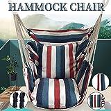 QWSX Schaukelstuhl Tragbare Hängesessel Hangeltau Stuhl Schaukel Stuhl-Sitz mit 2 Kissen for Garten Indoor Outdoor Modische Hammock Swings Outdoor-Produkt (Color : Sky Blue)