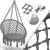 Kesser® Hängesessel 150kg mit 2 Stahlringe Sitzpolster geflochten Fransen Hängestuhl Hängekorb Schaukelkorb Garten Indoor wetterfest, wasserabweisend, Grau