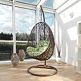 Kideo® Komplettset: Hängesessel inkl. Gestell und Kissen, Indoor & Outdoor, Polyrattan, Swing Chair, Rattanmöbel, Lounge (braun/grün)