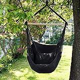 ECD Germany Hängesessel Hängestuhl - mit 2 Kissen - bis 120 kg - Anthrazit - aus Baumwolle/Hartholz - Indoor und Outdoor - Hängeschaukel Hängematte Schaukeltuch Liegefläche