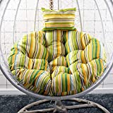 SFeng Schaukelstuhlkissen, Hängestuhlkissen, weiches Kissen mit Kopfstütze, Sitzkissen, Hängesessel, Schaukel, für Haus und Garten, Regenbogengelb, 105 cm