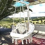 Mertonzo Hängesitz & Hängesessel, Gestrickt von Baumwollseil mit romantischen Fransen Hängematte Swing Sessel für Drinnen/Draußen 120KG Kapazität (Hängemattenhalter und Kissen sind Nicht Enthalten)